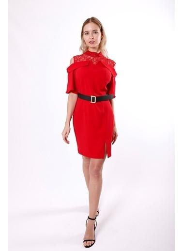 Clıche Dantel Detaylı Pudra Elbise Kırmızı